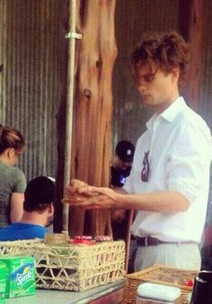 Matthew Gray Gubler getting a snack behind the scenes of Hot Air movie.