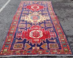 Blue ground vibrant coloured Iranian large runner with a unique cross door design. Iranian, Door Design, Bohemian Rug, Vibrant, Rugs, Unique, Blue, Stuff To Buy, Color