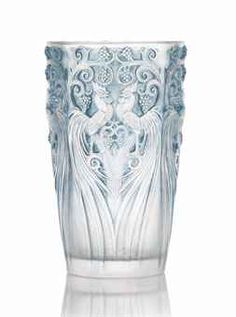COQS ET RAISINS VASE, NO. 1034 designed 1928, clear, frosted and blue stained stencilled R. LALIQUE FRANCE 15.7 cm. high