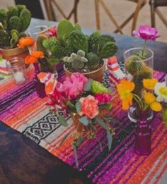 Table runners are a great addition to a wedding tablescape. Runners are a great finishing touch, that can work with a multitude of table designs. Hippie Chic, Mexican Bridal Showers, Cowboy Theme Party, Mexican Themed Weddings, Mexican Party, Table Arrangements, Wedding Seating, Bohemian Decor, Table Runners