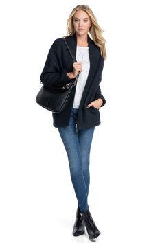 Esprit - Kräftiges Woll-Cape mit Zier-Paspeln im Online Shop kaufen