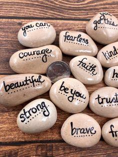 Empowerment Pebbles, Bag of 15 Pocket Pebbles with Words of Encouragement, Affirmation Pocket Tokens, Pocket Rocks, Words of Encouragement Rock Painting Ideas Easy, Rock Painting Designs, Paint Designs, Painting Patterns, Stone Crafts, Rock Crafts, Inspirational Rocks, Deco Nature, Kindness Rocks