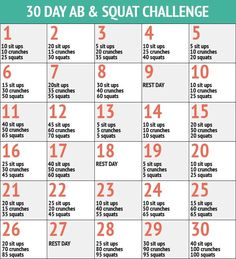 30 Day Abs and Squat Challenge – 30 Day Fitness Challenges- Doing this starting today!