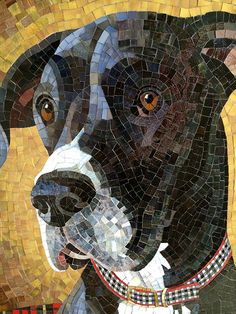 Love this whimsical mosaic, such personality for any space! #framing inspiration for Pets!