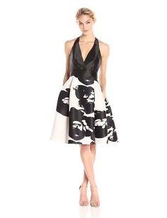 dc79d340cf HALSTON HERITAGE Women s Sleeveless Halter Neck Print Blocked Dress.Imported.  amazon Halston Heritage Dress