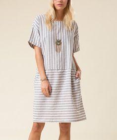 Gray Stripe Drop-Waist Midi Dress #zulily #zulilyfinds