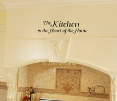 Kitchen Wall Decal- Vinyl Wall Lettering Kitchen Decal- The Kitchen is the Heart of the Home Wall Decal. $10.00, via Etsy.