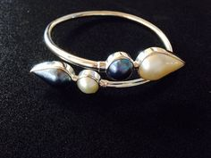 Black and White Pearl Twist Bangle in Sterling by balijewels, $95.00