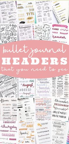 Bullet journal header and banner ideas that you need to try! Step by step doodle titles and subtitles that are SO cute and easy! Bullet Journal Headers And Banners, Bullet Journal Titles, Bullet Journal Hacks, Bullet Journal Spread, Journal Pages, Journal Ideas, Different Writing Styles, Banner Doodle, Banner Drawing
