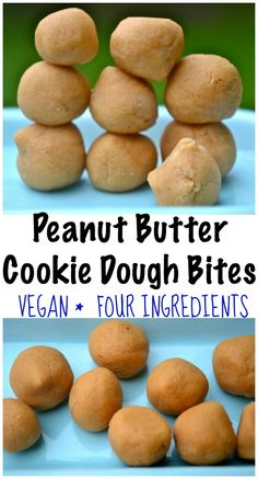 These Peanut Butter Cookie Dough Bites are Vegan, Gluten-Free and naturally sweetened.   Only 4 ingredients and they are naturally sweetened with maple syrup.