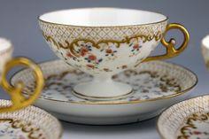 LIMOGES CRA Redon Porcelain Gold Gilt 4 Pedestal Footed Punch Cups & 4 Saucers B | eBay