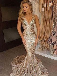 Deep V-Neck Mermaid Gold Beaded Prom Dress  57918bbfa965