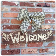 Rustic Wood Welcome Fleur de Lis sign Ready To by CreatedByTerri, $25.00