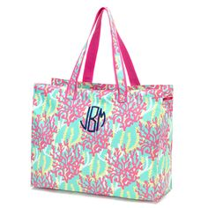 8 Monogram Beach Bag Large Ladies Tote Bag Reef bridesmaid gift by SoBlessedMonogrammed on Etsy