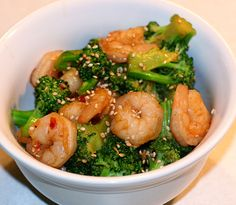 sesame shrimp and broccoli...quick and easy