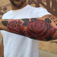 Rose Forearm Tattoo Designs - Best Forearm and Arm Tattoos For Men - Cool Tattoo Designs and Ideas on the Arm and Forearm For Guys Cool Forearm Tattoos, Leg Tattoos, Sleeve Tattoos, Cool Tattoos, Drawing Tattoos, Buddha Tattoos, Tattoo Sketches, Flower Tattoo On Side, Flower Tattoo Shoulder
