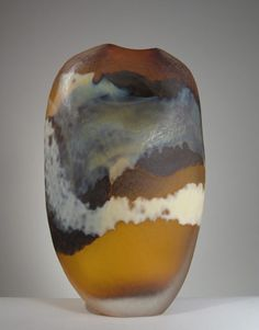 'Amber Erosion Vase', blown glass, carved and sandblasted. By Mark Roth