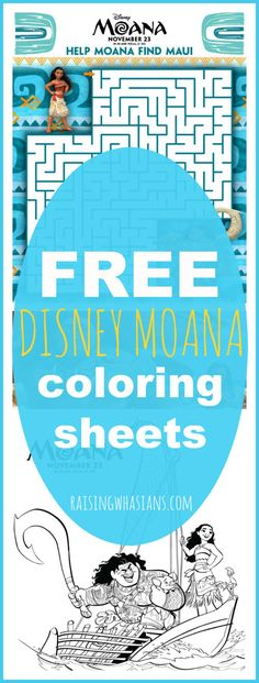 FREE Moana Coloring Sheets + Kids Activities #Moana - RaisingWhasians.com