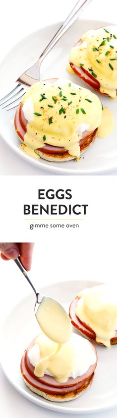 Learn how to make PERFECT Eggs Benedict with this easy recipe, which includes a tutorial on how to make poached eggs and hollandaise sauce in the blender.  Perfect for breakfast and brunch! | gimmesomeoven.com