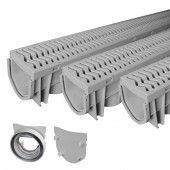 Source 1 Drainage S1E-PLCD-3PK 3-Pack Trench & Driveway Channel Drain System with Grates