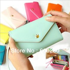 Free Shipping Women's Multi Propose envelope Wallet Purse handbag for Galaxy S2 S3 iphone 4 4S 5 Case,more colors#5337 $182,28