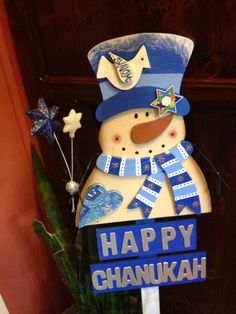 CHANUKAH  DECORATIVE SNOWMAN by PoZiDesigns on Etsy, $45.00