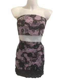 089d39e82df New Lilac  amp  Black Skirt  amp  Boob Tube UK 10 - 12 Ladies Stretch