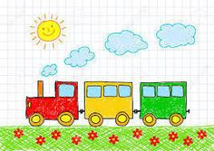 Drawing of train stock vector. Illustration of freehand - 23414095 Nature Drawing For Kids, Drawing Classes For Kids, Drawing Pictures For Kids, Easy Drawings For Kids, Colorful Drawings, Painting For Kids, Art For Kids, Train Cartoon, Kindergarten Drawing