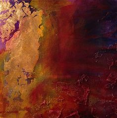Abstract painting, gold leaf texture