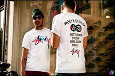 Woei x Stussy Fifth Anniversary T-Shirt: Celebrating its five-year anniversary, Rotterdam-based sneaker and streetwear boutique Woei and Streetwear Mode, Streetwear Fashion, Next Fashion, Trendy Fashion, Men's Fashion, Fashion Design, Custom Tees, Urban, Stussy