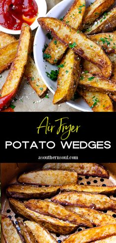 Air Fryer Potato Wedges are crispy on the outside and fluffy on the inside making them a great side dish or snack! These perfectly seasoned potato wedges finished with a sprinkle of Parmesan cheese and parsley are made in minutes and terrific served with your favorite dipping sauce. Healthy Side Dishes, Side Dishes Easy, Vegetable Side Dishes, Side Dish Recipes, Air Fry Potatoes, Fried Potatoes, Easy Weeknight Meals, Easy Meals, Seasoned Potato Wedges