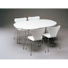 Superellipse pöytä jatkokappaleilla, valkoinen laminaatti/alumiinireunus Fritz Hansen - Osta kalust