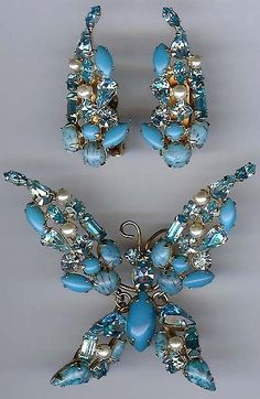 Schreiner Vintage Blue Rhinestone Trembler Butterfly Pin Earrings Set   eBay