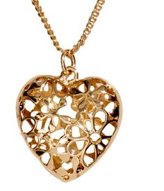 Gold necklace with heart pendant & floral cutouts. | H&M Gifts
