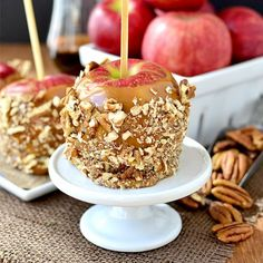 Easy Bourbon Caramel Apples with Pecans are a fun and tongue-tingling fall treat with just 4 ingredients!