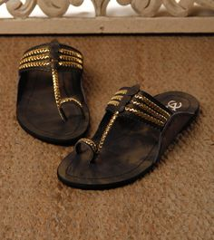 Black & Golden Kolhapuri Leather Chappals