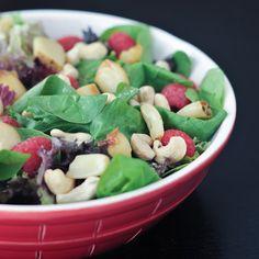 Roasted Garlic and Raspberry Big Salad with Fresh Raspberry Vinaigrette - fresh, crispy, crunchy, creamy, sweet - beautiful flavors and textures make a great salad! @spabettie