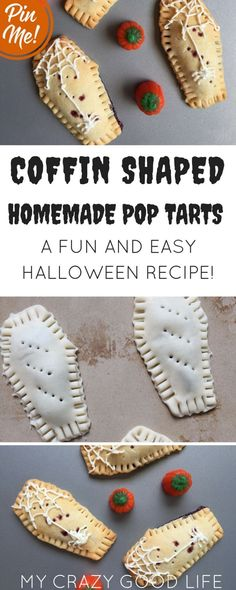 These homemade pop tarts are coffin shaped and a perfect fun Halloween food! They're great as a special breakfast or even as a fun Halloween recipe. Halloween Party Recipe | Fun Halloween Recipe | Easy Halloween Food for Kids | Homemade Pop Tarts