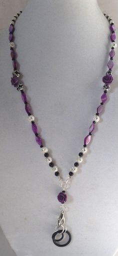 Purple Black and Silver Lanyard with Optional by HeavyMetalGlam, $20.00