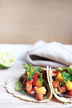 Sweet Potato Mushroom Tacos + Mango Salsa {Via @anjaneeszczupak}
