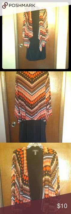 R & M Richards Woman Black Dress with Cover Type: Women's Dressy Clothing Style: Dress with Cover Jacket Size: 14W Color: Dress, Black; Cover Jacket, Orange Psychedelic Layered Designer: R & M Richards Woman Condition: Good R&M Richards Dresses Long Sleeve