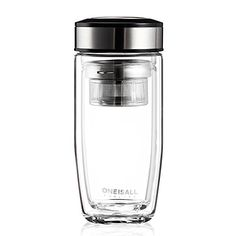ONE IS All GYBL015 380ML Glass Drinking Water BottleUltra Clear Spillproof Strong Doublewall Borosilicate Glass Tea Tumbler with Strainer490G Stainless Steel * Learn more by visiting the image link.Note:It is affiliate link to Amazon.