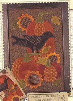 Primitive Folk Art Wool Applique Pattern:  PUMPKINS in the SUNFLOWERS.