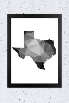 Texas Printable File, Texas Geometric Silhouette in Black and White colors.  **This listing is for a downloadable digital file to print yourself -