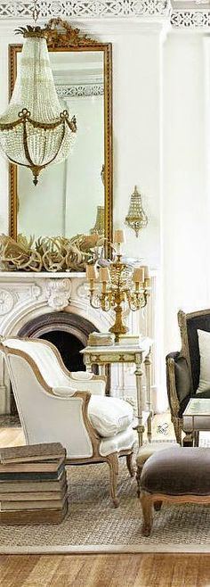 weekend color inspiration | cream walls, bergere chair