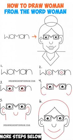 How to Draw a Cartoon Woman from the Word Woman – Easy Word Fun Drawing Tutorial for Kids – Drawing Techniques Word Drawings, Doodle Drawings, Easy Drawings, Animal Drawings, Drawing Cartoon Characters, Girl Cartoon, Cartoon Drawings, Cartoon Illustrations, Drawing Lessons