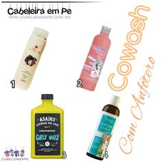 Condicionadores Co Wash com anfótero (Mari Morena, Yamasterol Cowash, Curly Wurly Lola, Sou Mais Cachos Yenzah) Leave In, Uniq One Revlon, No Poo Hair, Curly Wurly, Hair Beauty, Rapunzel, Instagram, Hair Products, Makeup Brushes