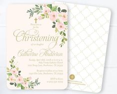 Baby Girl Christening Invitation, Blush Pink