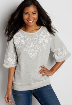 french terry pullover with floral puff paint graphic