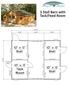 Except change one stall into a feed/hay room Barn Stalls, Horse Stalls, Small Horse Barns, Horse Barn Designs, Barn Layout, Farm Plans, Small Barn Plans, Horse Barn Plans, Pallet Barn